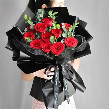 美麗的她-11支精品紅玫瑰