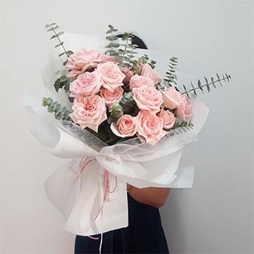 兩情相悅-19支精品粉玫瑰
