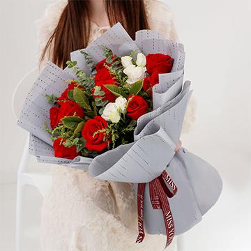 蝶戀花-11支精品紅玫瑰