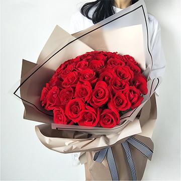 愛意朦朧-33支精品紅玫瑰