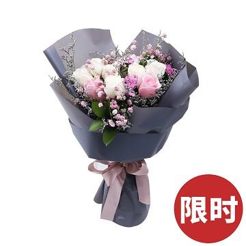 深情時光-7支精品白玫瑰+2支粉玫瑰