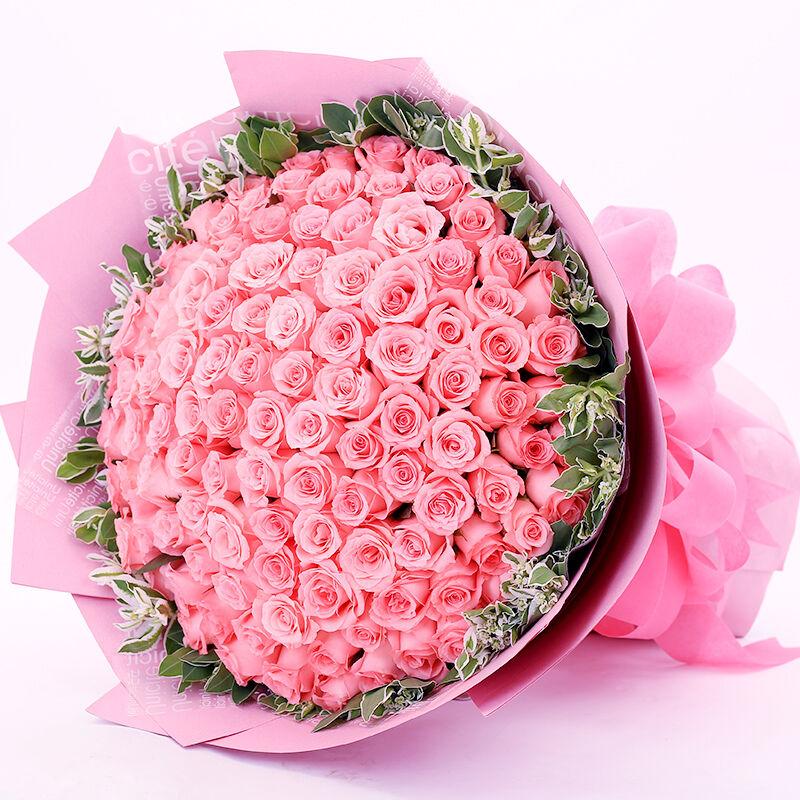 生日祝福鲜花一生最爱-99支精品粉玫瑰
