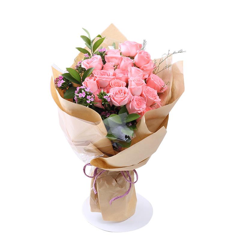 两情相悦-19支精品粉玫瑰