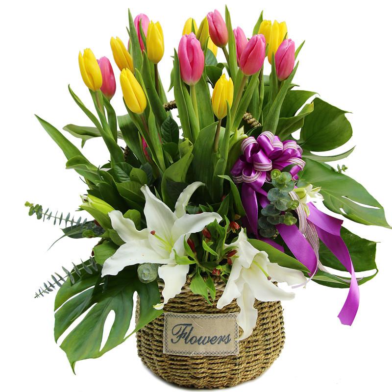 浪漫-16支混色郁金香+2支百合鲜花