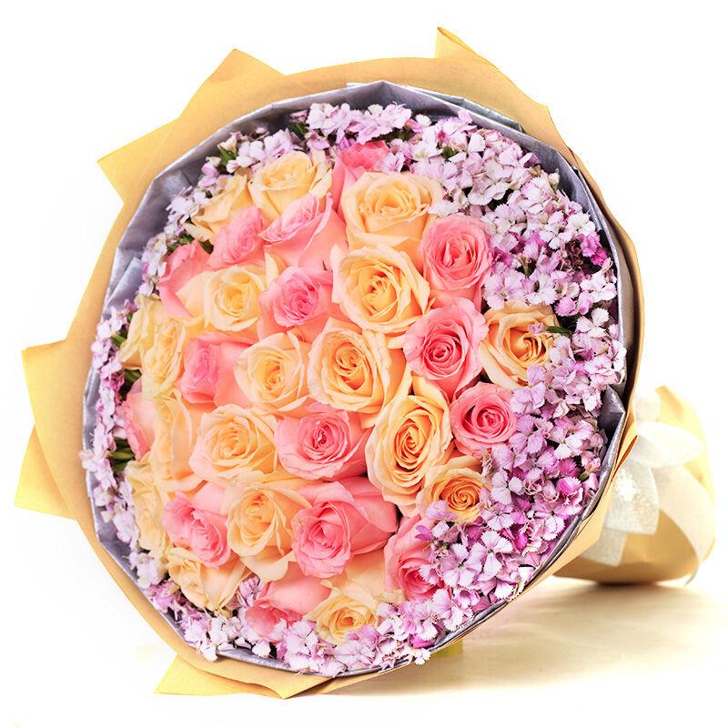 你的微笑-33支精品混色玫瑰