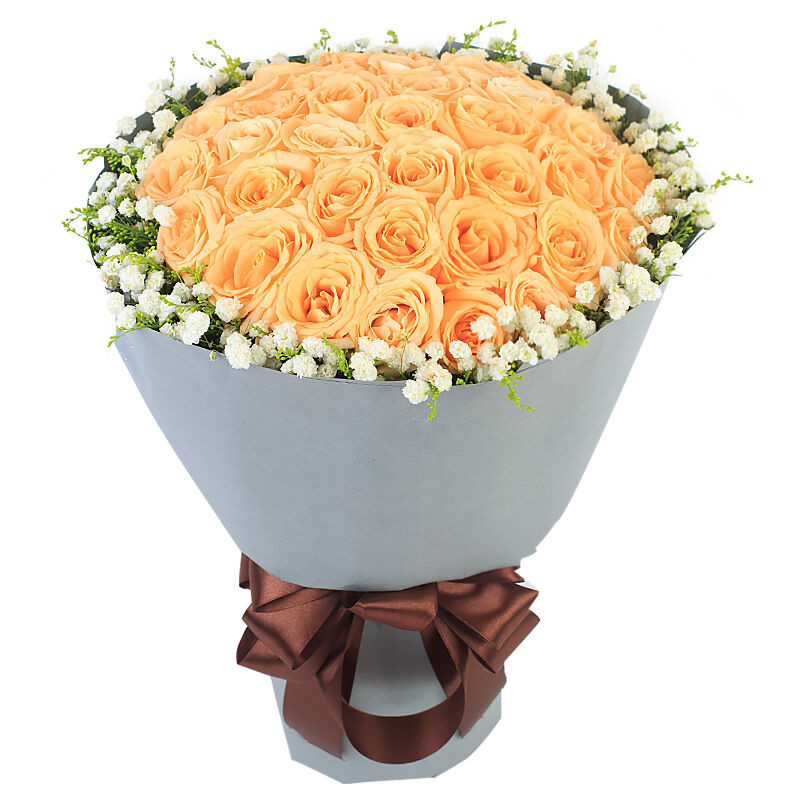 午后阳光 -33支精品香槟玫瑰鲜花