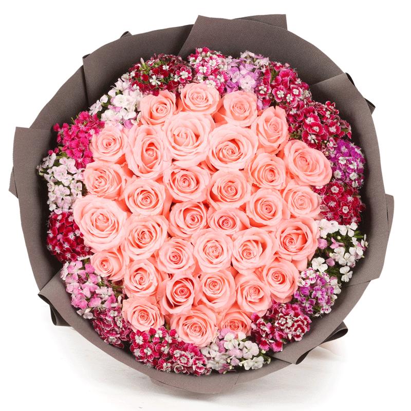 情有独钟-33支精品粉玫瑰