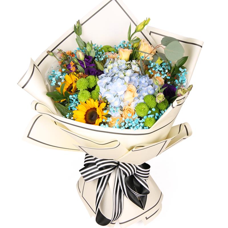 快乐阳光-6支精品香槟玫瑰+向日葵+绣球鲜花