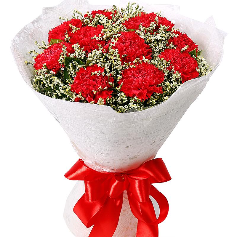 馨情无限-11支精品红色康乃馨鲜花