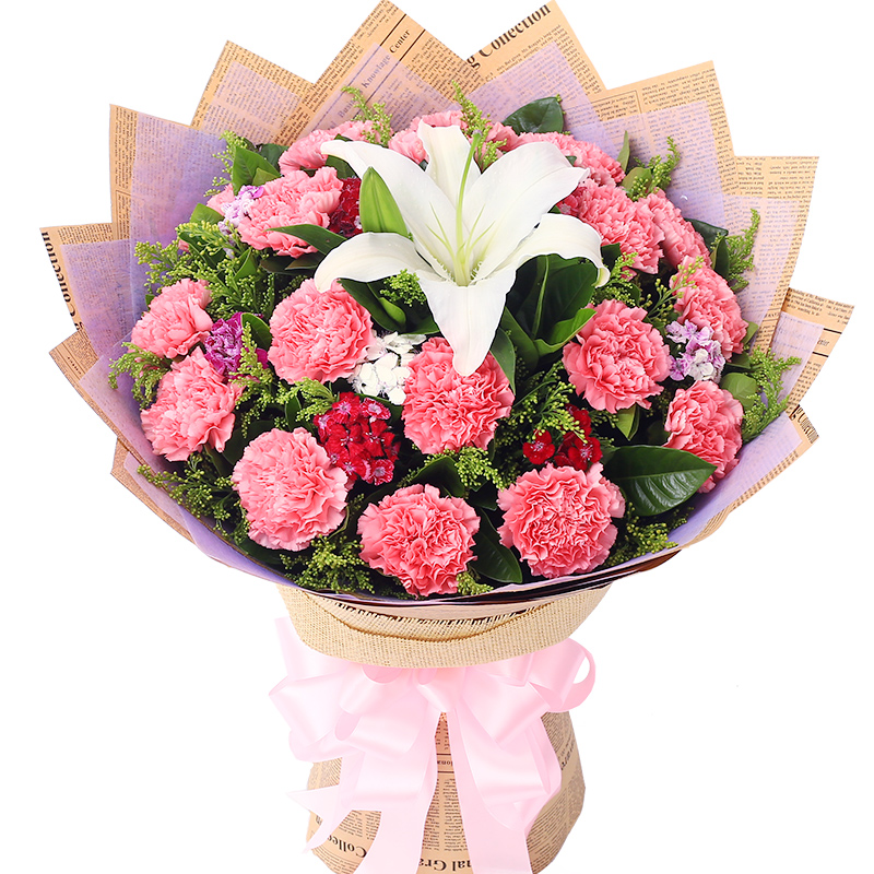 芳华-19支精品粉色康乃馨鲜花
