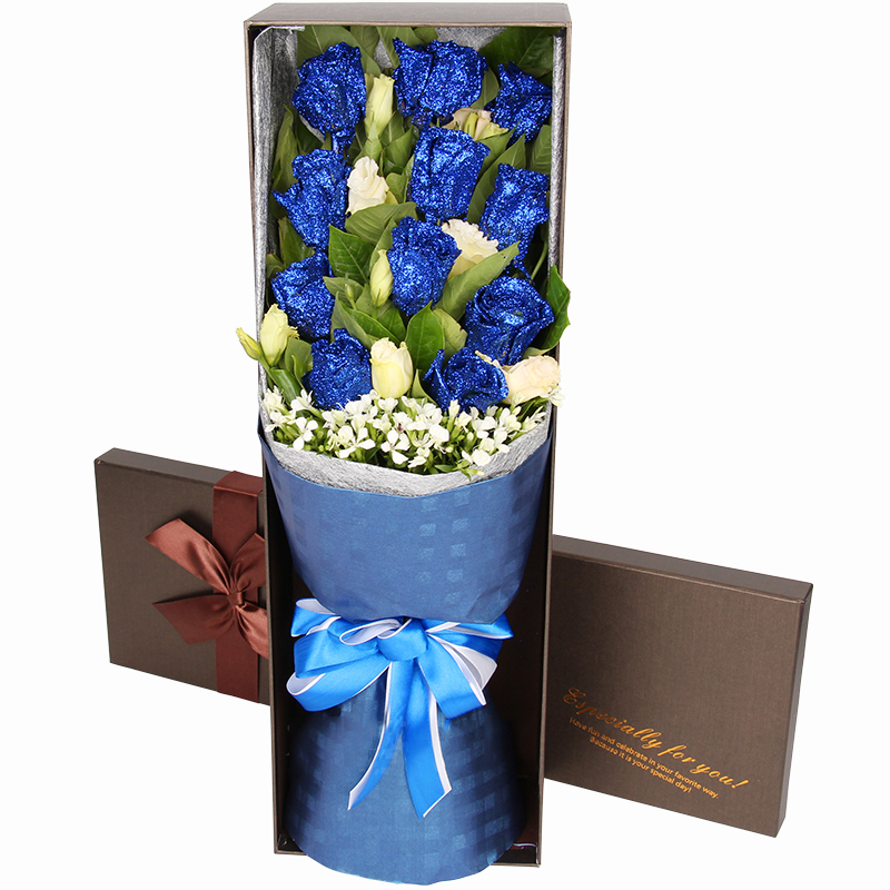 为你着迷-11支精品蓝色妖姬鲜花