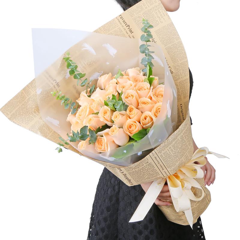 爱的语录-33支精品香槟玫瑰鲜花