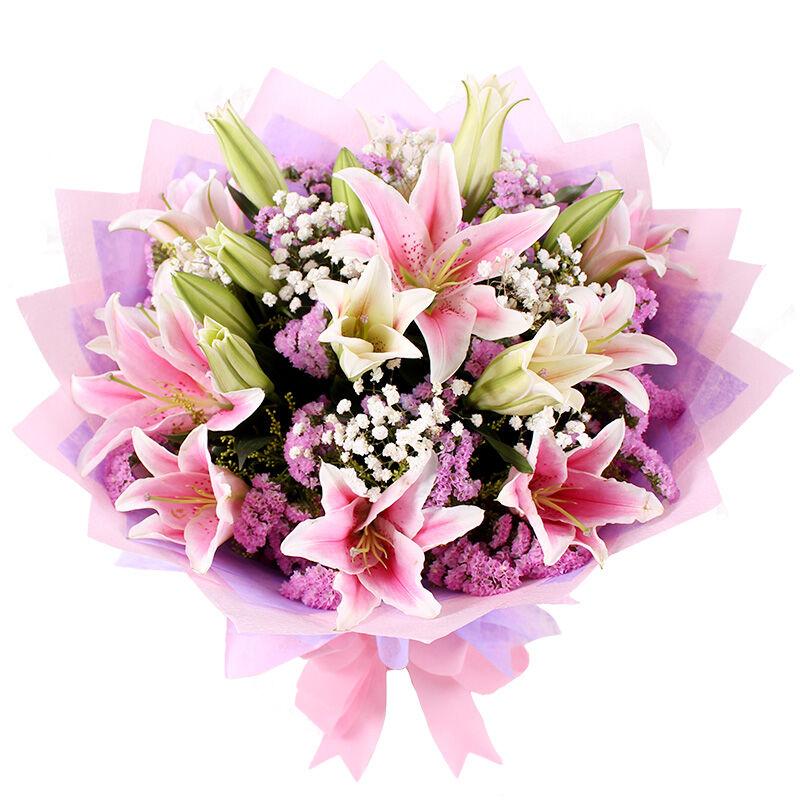美好生活-6支多头粉百合鲜花