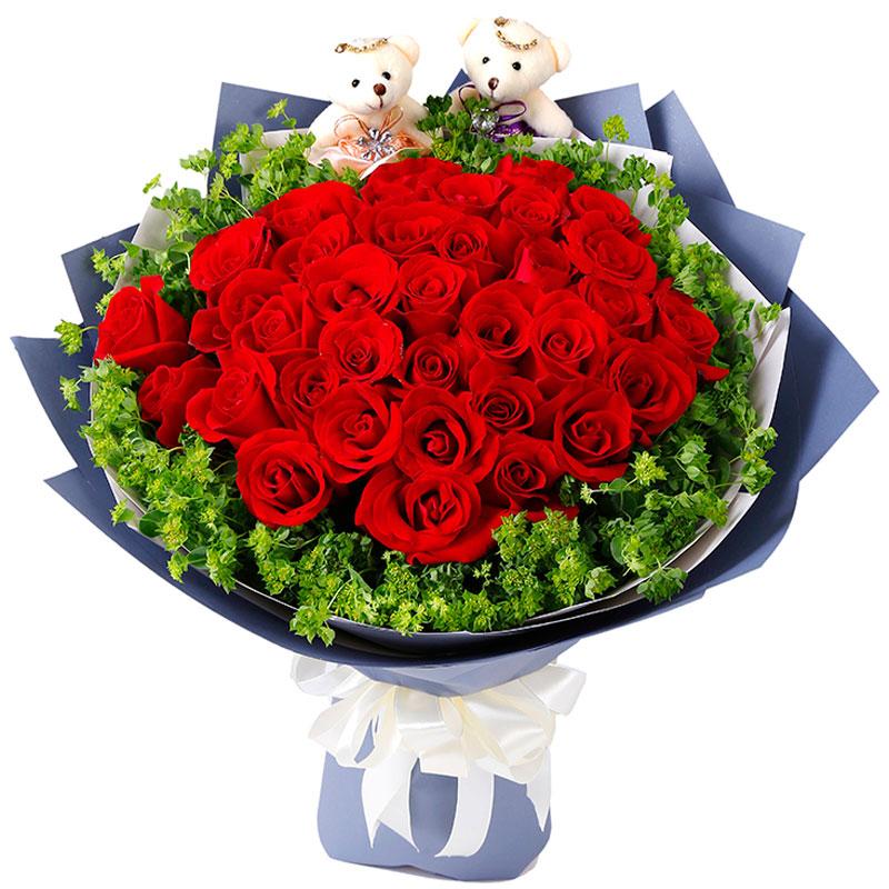 红玫瑰花束-相知相爱