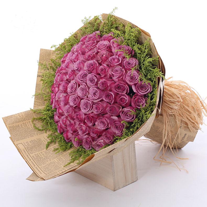 紫霞仙子-66支精品紫玫瑰