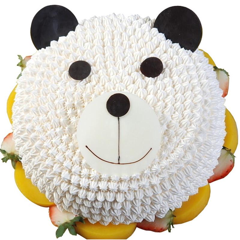 可爱小熊-奶油圆形蛋糕