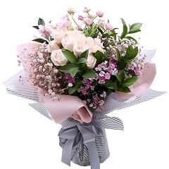甜蜜期待-19支精品白玫瑰