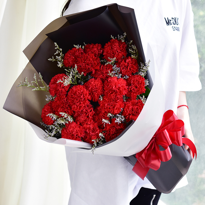 温馨思念-19支红色康乃馨
