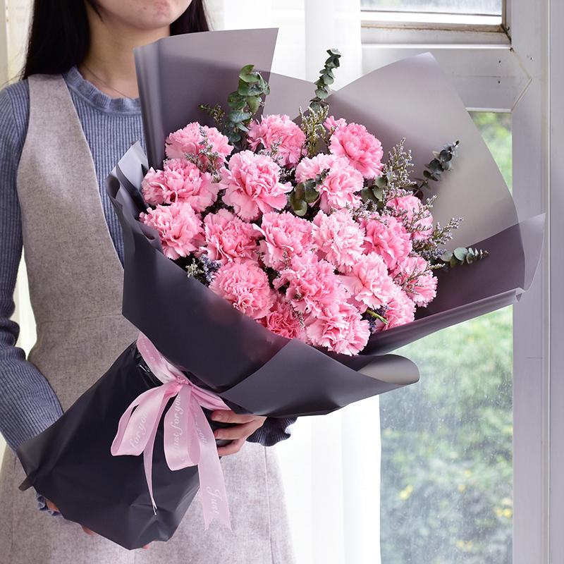念您-19支精品粉色康乃馨
