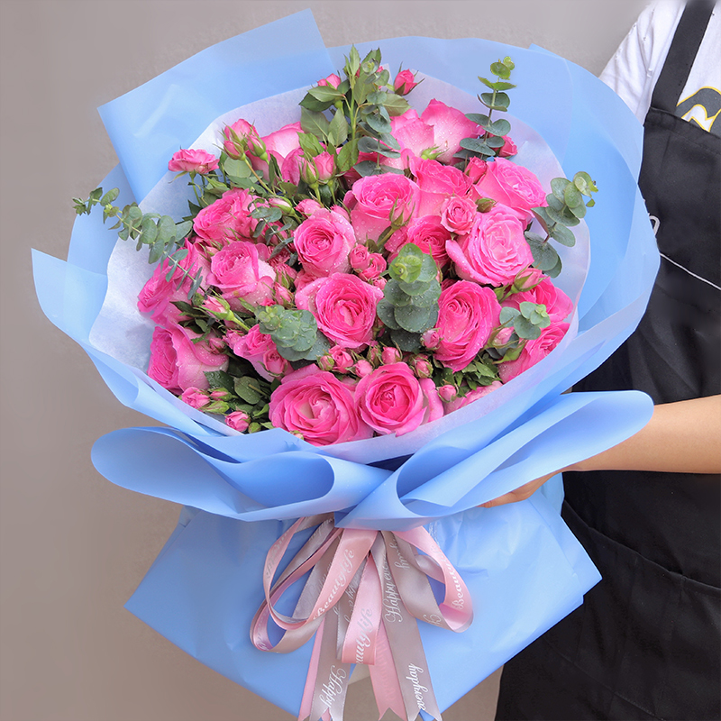 邻家女孩-33支精品粉玫瑰