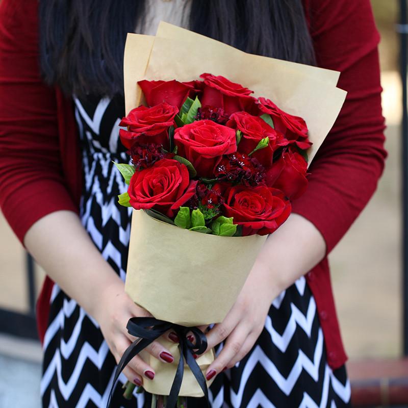挚爱如火-9支精品红玫瑰