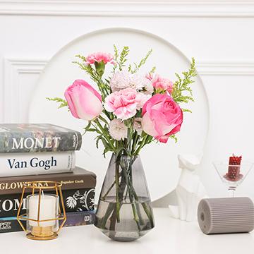 完美日记-3支粉玫瑰+3支粉康乃馨(送花瓶)