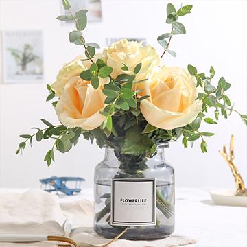 倾城时光-9支香槟玫瑰(送花瓶)