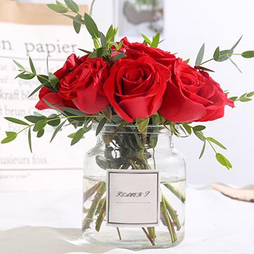 幸福小调-9支红玫瑰(送花瓶)