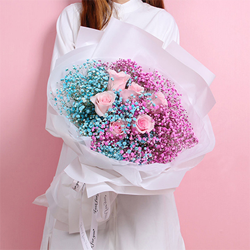 缘来是你-6支精品粉玫瑰+彩色满天星混搭