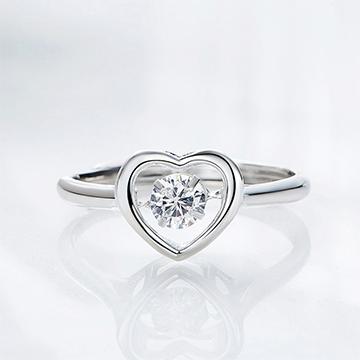 S925银心形戒指