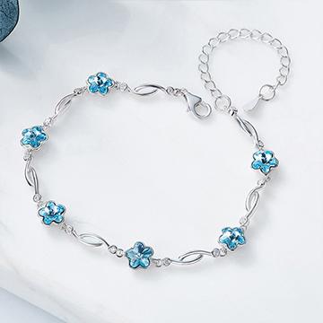 S925简约花朵银手链(采用施华洛世奇元素)
