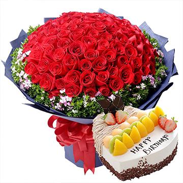 柔情时光-99支红玫瑰+蛋糕组合