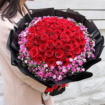 柔情似水-33支精品红玫瑰