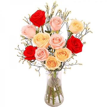 幽幽花香-11支亚博体育官方通道混色玫瑰