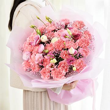 明亮的温暖-33支精品粉色康乃馨