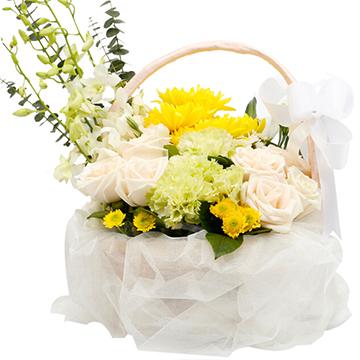 永远怀念-4支亚博国际电游app黄菊花+7支白玫瑰