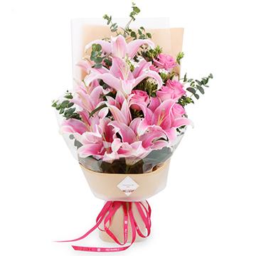 绝对痴心-6支亚博体育官方通道粉玫瑰+4支百合