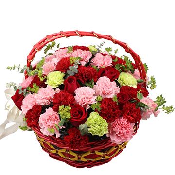 那些花儿-50支混色康乃馨+9支红玫瑰