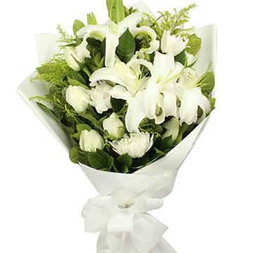 永远的思念-6支白玫瑰+6支白菊花