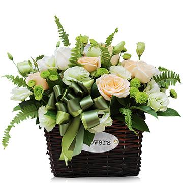 好运连连-9枝香槟玫瑰+3枝白玫瑰