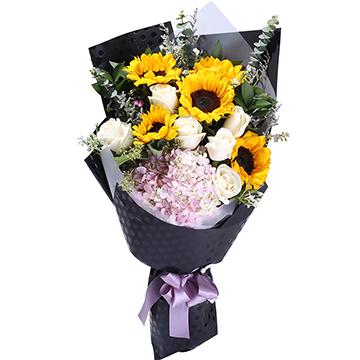 给你我的温柔-5支亚博国际电游app向日葵+玫瑰+绣球