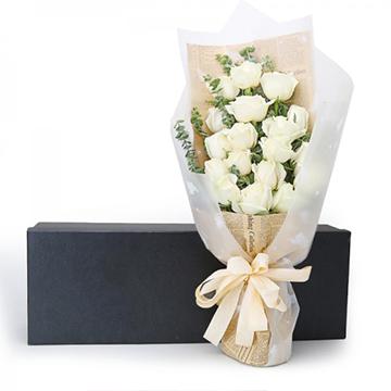 红尘思念-19支精品白玫瑰
