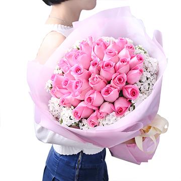 只为你疯狂-33支精品粉玫瑰
