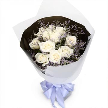 真心爱你-11支精品白玫瑰