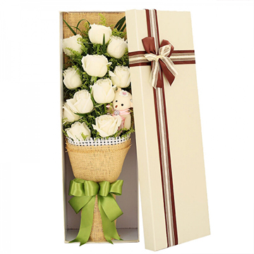 真爱如初-11支精品白玫瑰