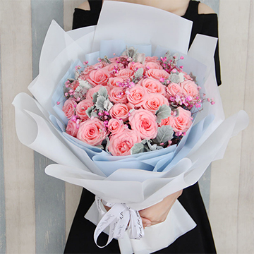 情意绵绵-33支精品粉玫瑰