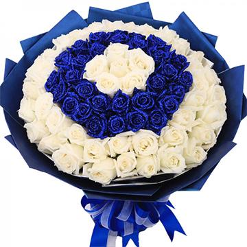 蓝色恋曲-99支亚博国际电游app混色玫瑰