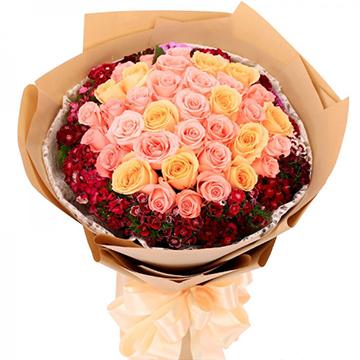 衷情于你-33支精品混色玫瑰