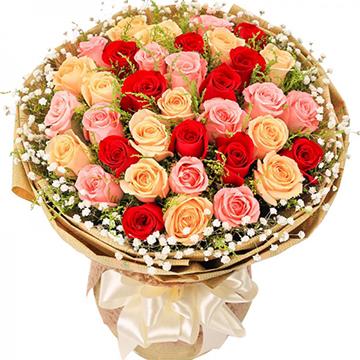 遇见美丽的你-33支精品混色玫瑰