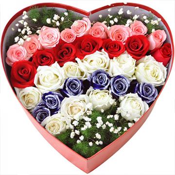心中的爱-32支精品混色玫瑰